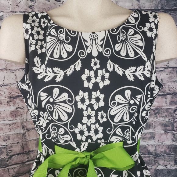 R&K Dresses & Skirts - R & K Black and White Midi Dress with Lime Bow, 10